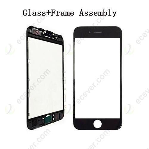 Black Front Glass Outer Lens with Frame Bezel for iPhone 6S