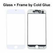 White Replacement for iPhone 8 Glass Lens with Front LCD Screen Bezel Frame