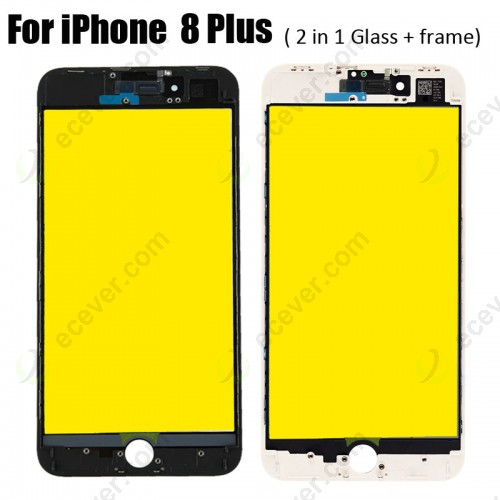 2 in 1 Glass with Frame Bezel Earpiece Mesh for iPhone 8 Plus