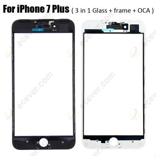 3 in 1 Glass with Frame OCA for iPhone 7 Plus