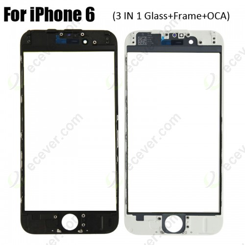 3 in 1 Glass with Frame OCA for iPhone 6 (earpiece mesh installed)