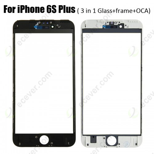 3 in 1 Glass with Frame OCA for iPhone 6S Plus (earpiece mesh installed)