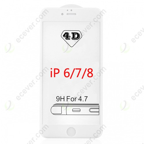 4D Full Cover Tempered Glass Curved Edge Screen Protector For iPhone 6 White