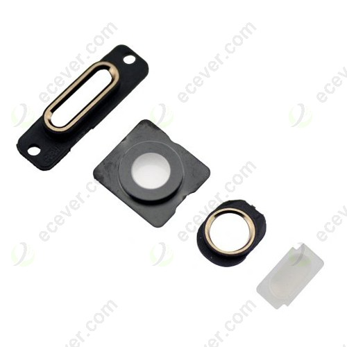 Dock Bracket Camera Lens Flashlight Earphone Jack Ring for iPhone 5S Gold