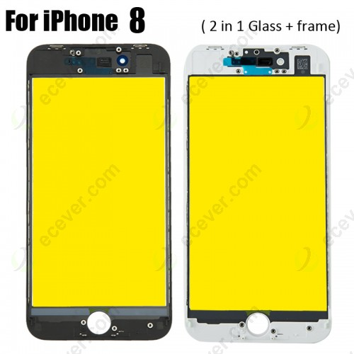 2 in 1 Glass with frame bezel for iPhone 8 Yellow Film