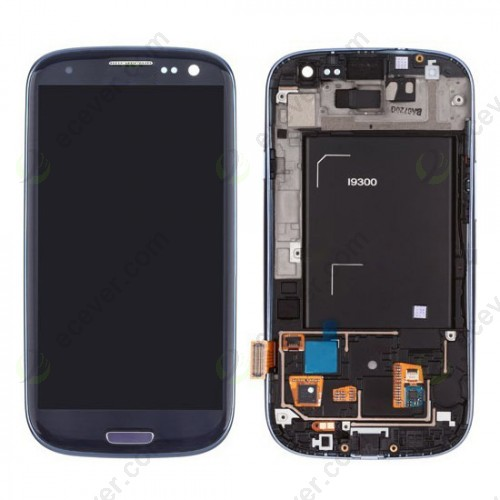 For Samsung Galaxy S3 III GT i9300 LCD Screen Touch Digitizer Assembly with Front Frame Pebble Blue