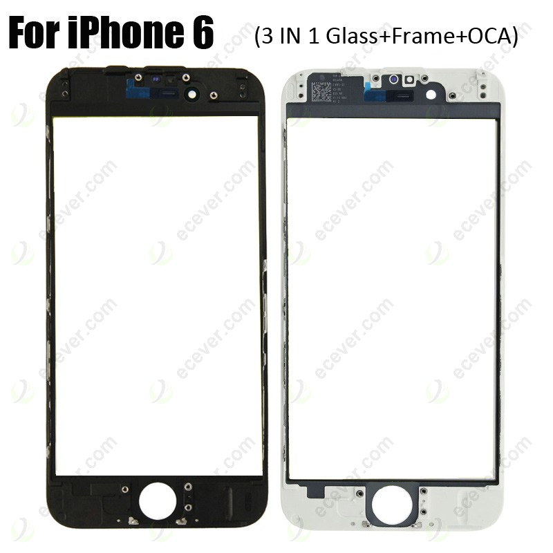 the latest 7c2b5 9b09f 3 in 1 Glass with Frame OCA for iPhone 6 (earpiece mesh installed)