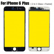 2 in 1 Glass with Frame Bezel Earpiece Mesh for iPhone 6 Plus Cold Press