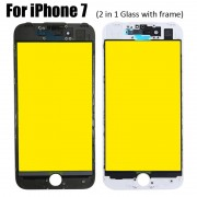 2 in 1 Glass with Frame Bezel Earpiece Mesh for iPhone 7