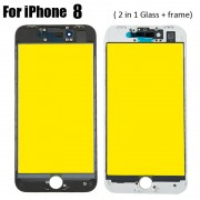 2 in 1 Glass with Frame Bezel Earpiece Mesh for iPhone 8