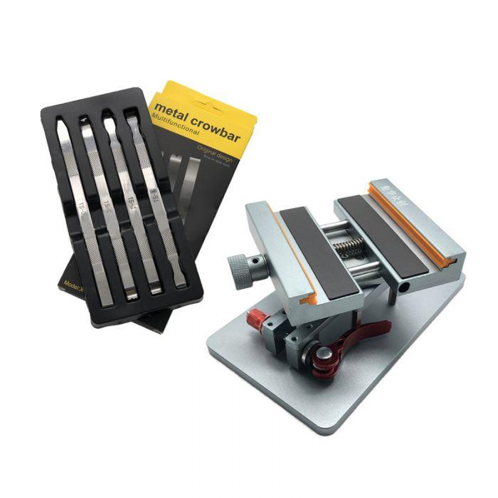 Metal Crowbar Pry Tool set + Rotating Fixture for iPhone 8 X XS max 11 Pro Back Glass Repair