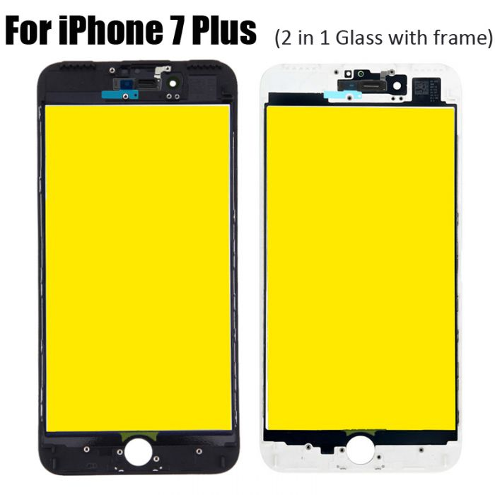 2 in 1 Glass with Frame Bezel Earpiece Mesh for iPhone 7 Plus