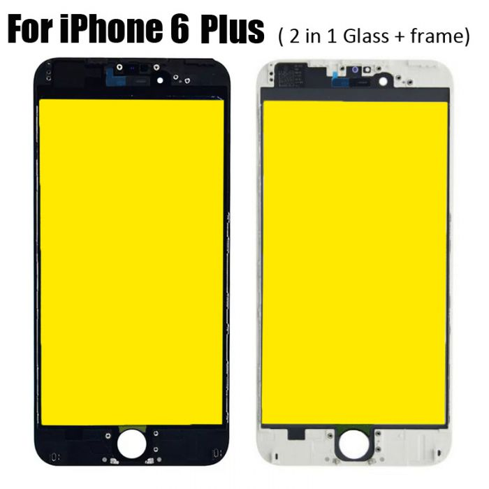 2 in 1 Glass with Frame Bezel Earpiece Mesh for iPhone 6 Plus