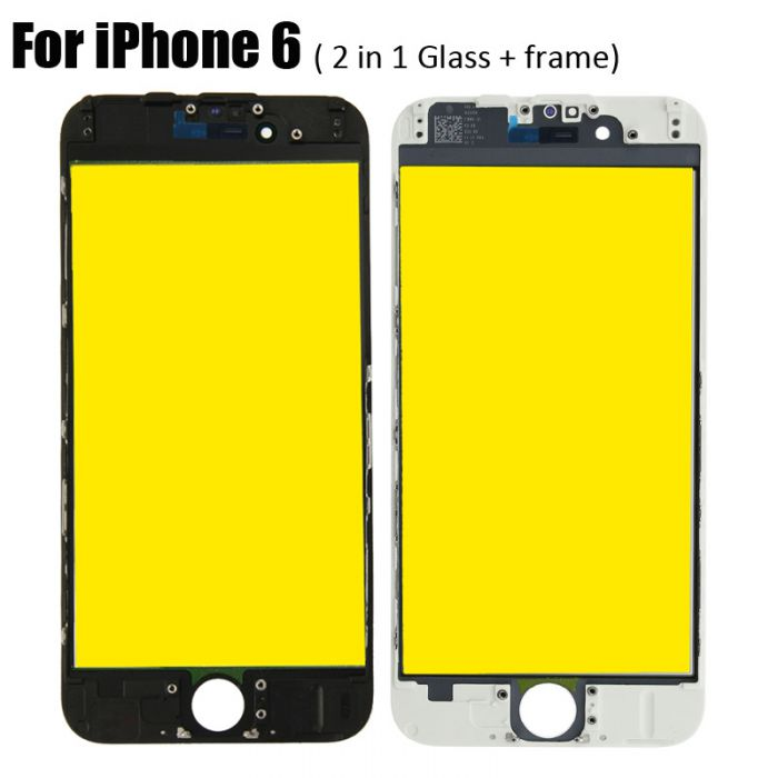 2 in 1 Glass with Frame Bezel Earpiece Mesh for iPhone 6