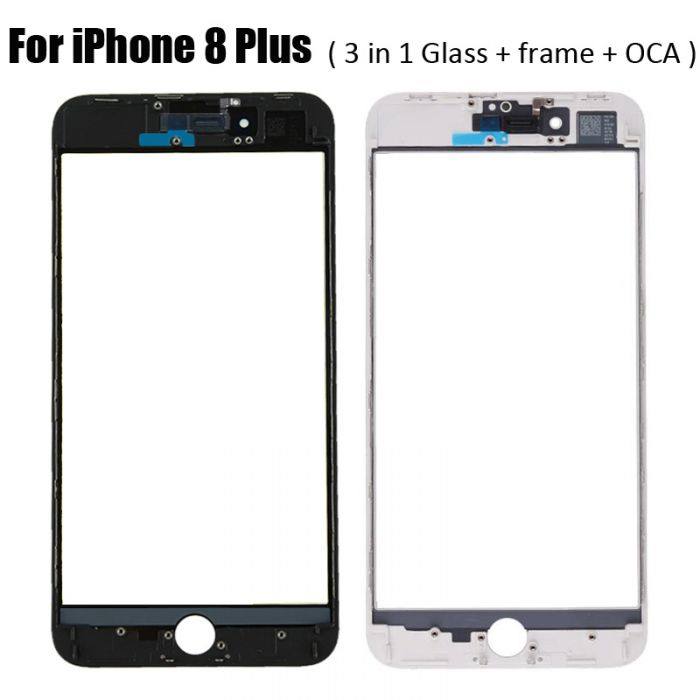 3 in 1 Glass with Frame Bezel OCA Foil Earpiece Mesh for iPhone 8 Plus