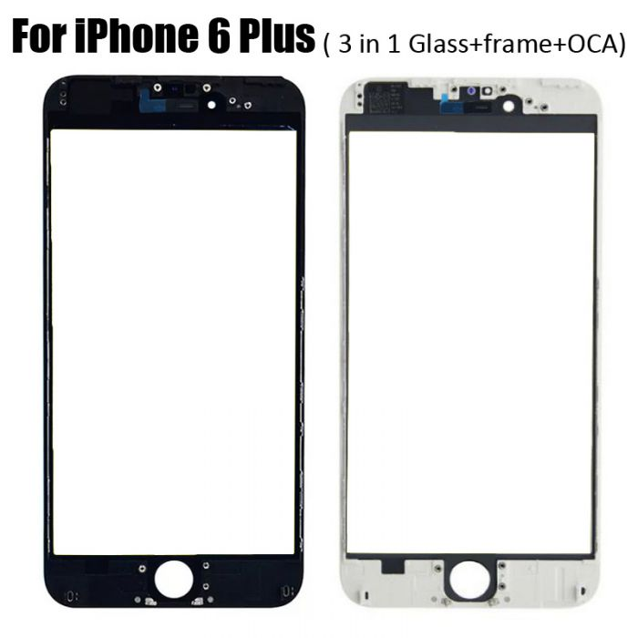 3 in 1 Glass with Frame OCA for iPhone 6 Plus (earpiece mesh installed)