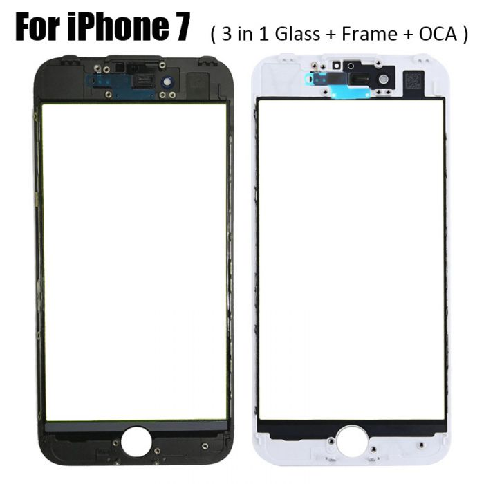 3 in 1 Glass with Frame OCA for iPhone 7 earpiece mesh installed