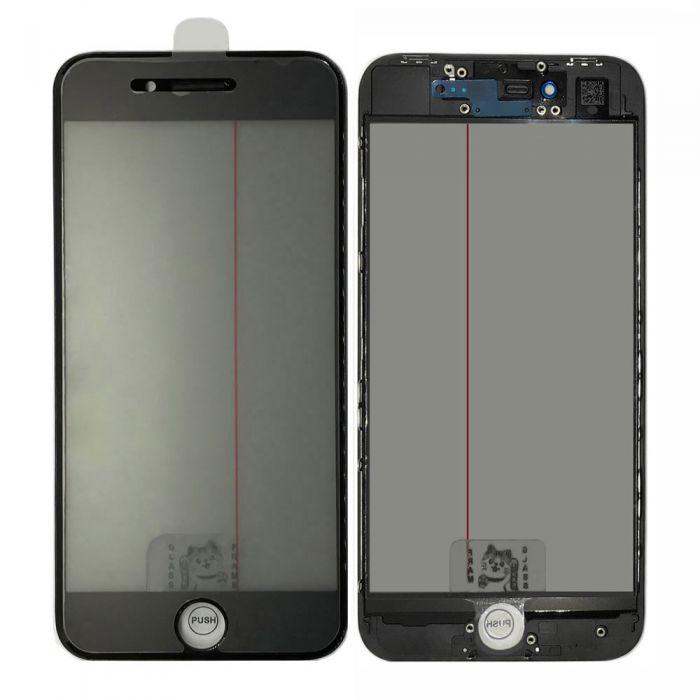 4 in 1 Glass lens Bezel OCA Glue Polarizer film for iPhone 8 black