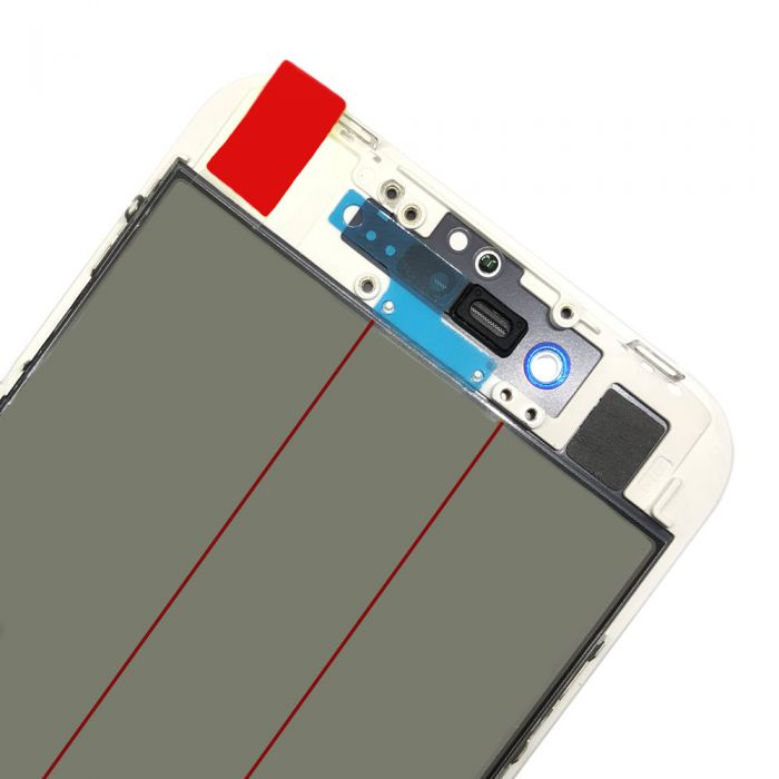 4 In 1 Glass for iPhone 8 with Frame OCA Foil Polarizing Film White
