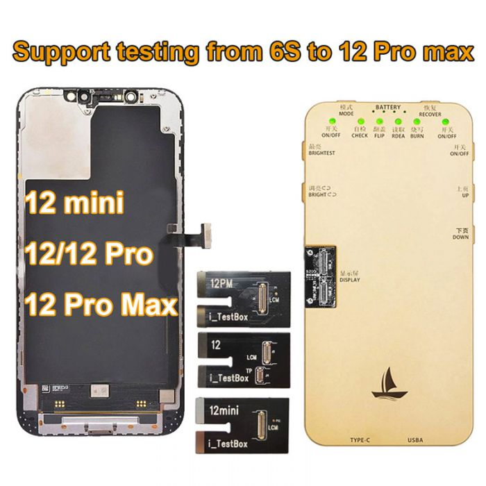 (Support from 6S to 12 Pro Max) DL S200 Tester iTestBOX-12 for iPhone LCD Screen OLED Display Testing - include test cables