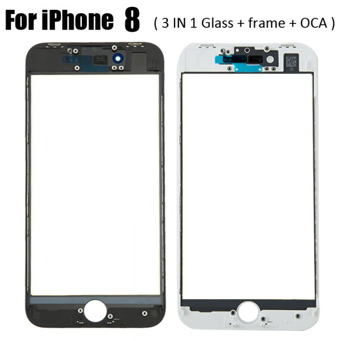 3 in 1 Glass with Frame OCA for iPhone 8