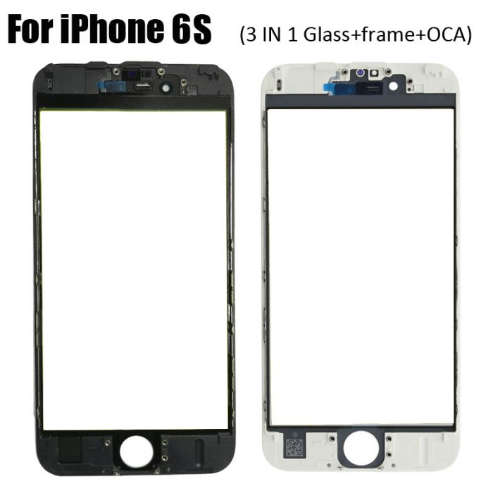 3 in 1 Glass with Frame OCA for iPhone 6S (earpiece mesh installed)