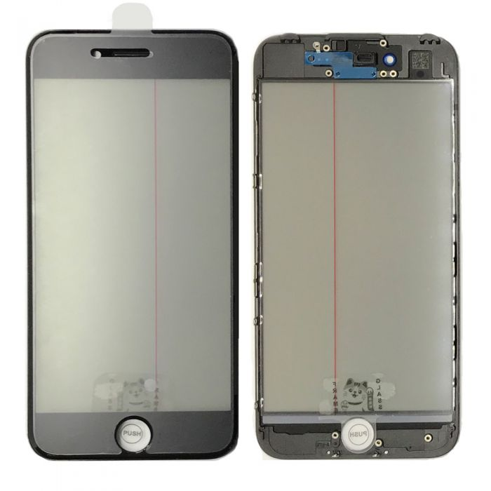 iPhone 7 Glass with Frame OCA Polarizer 4 in 1 Black