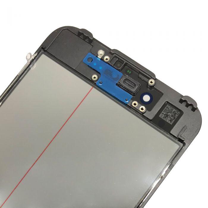 4 in 1 for iPhone 7 Glass Frame OCA Polarizer Film Black