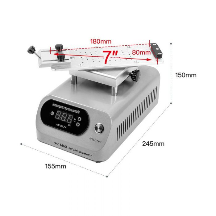 UYUE 948 Max Hot Plate LCD Separator 360 degrees Rotate Glass Separating Machine Build in Pump for iPhone for Samsung Edge Screen