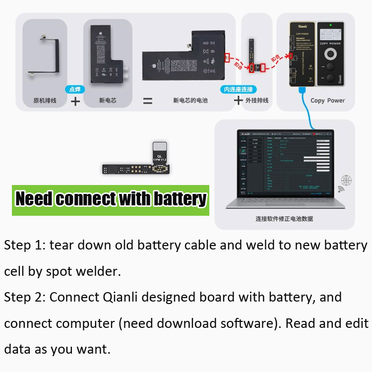 qianli copy power tool programmer for iphone battery read write iPhone 11 11 pro 12 max